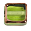 Glass Lamp Bead Half Cube 10mm Olivine/Bronze